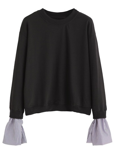 Black Contrast Striped Cuff Sweatshirt