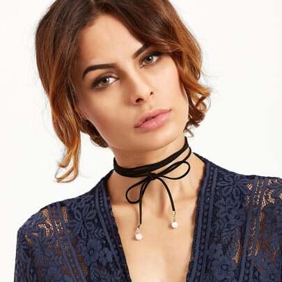 Choker Halskette Kunst-Perle Schleife - schwarz