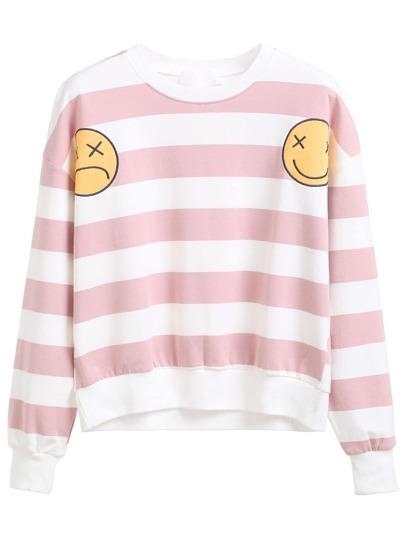 Pink Striped Emoji Patch Sweatshirt