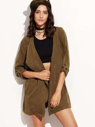 Army Green Hooded Asymmetric Zipper Drawstring Outerwear