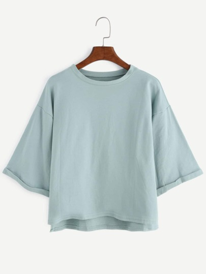 Drop Shoulder High Low Cuffed T-shirt