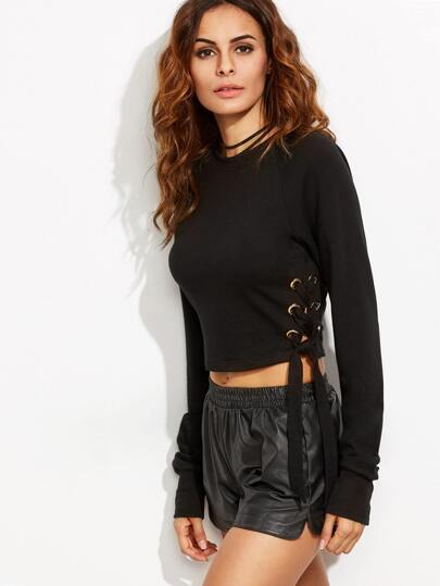 Black Tie Side Long Sleeve Crop Sweatshirt