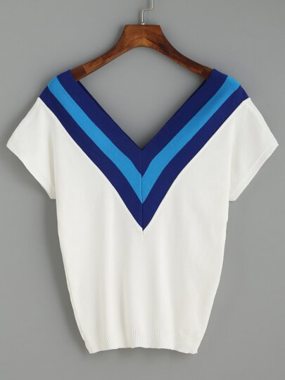 White V Neck Striped Knitted T-shirt
