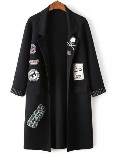 Veste pull longue col à revers manche enroulée avec patch - noir