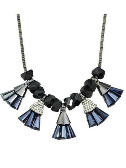 Blue Latest Rhinestone Statement Necklace