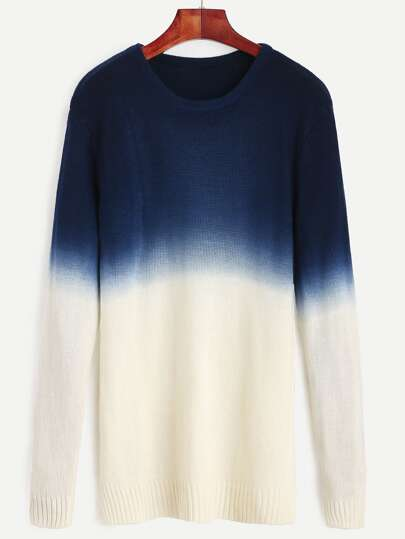 Navy Ombre Long Sleeve Split Side Sweater