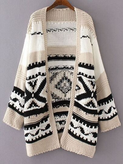 Black Geometric Pattern Loose Sweater Coat
