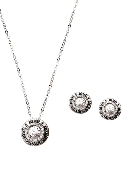 Silver Plated Rhinestone Round Shape Jewelry Set