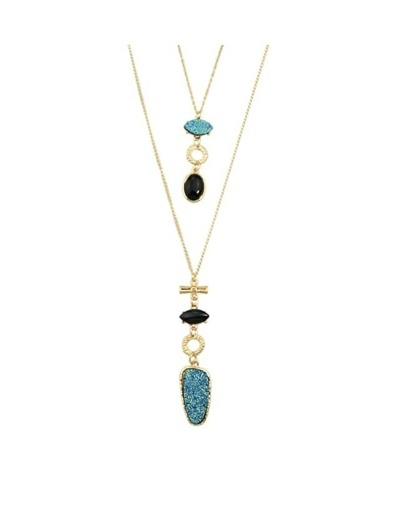 Blue Double Layers Long Necklace