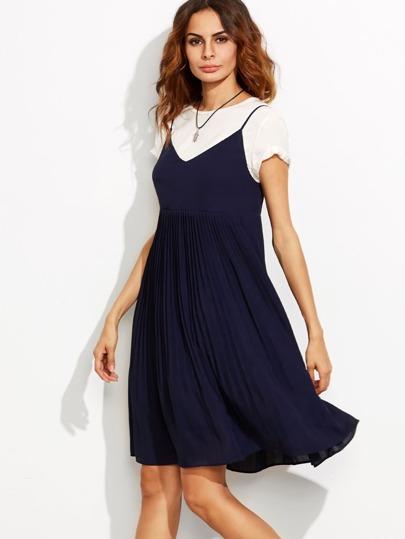 Тёмно-синее платье на бретельках