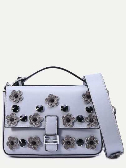 Grey Flowers And Rivet Embellished Satchel Bag