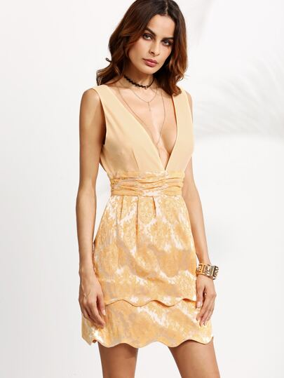 Gold Double V Neck Scallop Dress