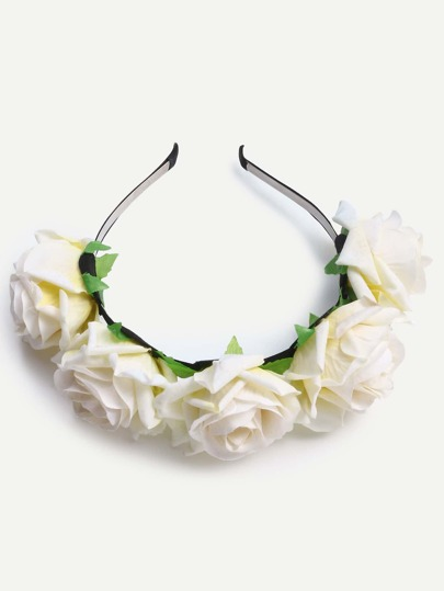 White Rose Crown Headband