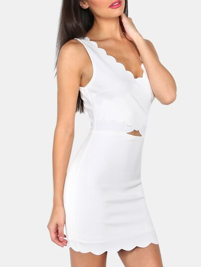 White V Back Scallop Trim Sleeveless Bodycon Dress