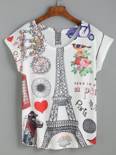 White Eiffel Tower Print T-shirt