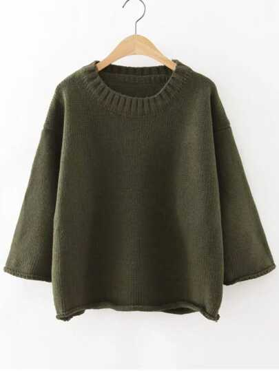 Ribbed Neck Drop Shoulder Roll Hem Sweater