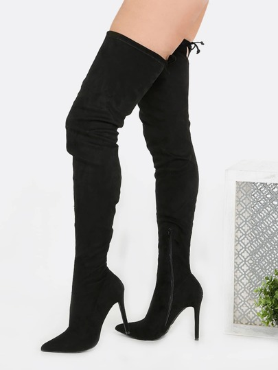 Pointy Toe Stiletto Thigh Boots BLACK