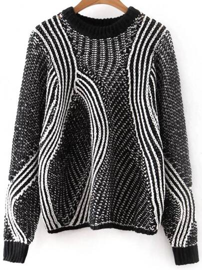 Black Mixed Knite Hollow Out Loose Sweater