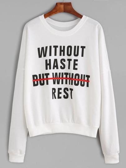 White Slogan Print Drop Shoulder Sweatshirt