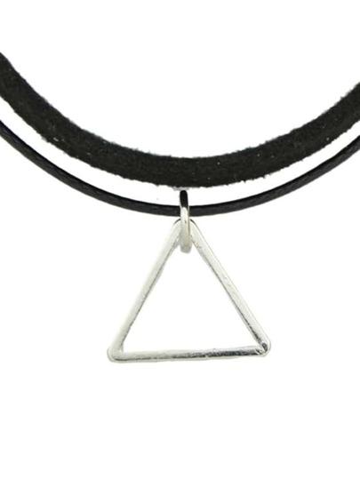Black Pu Leather Choker Necklace