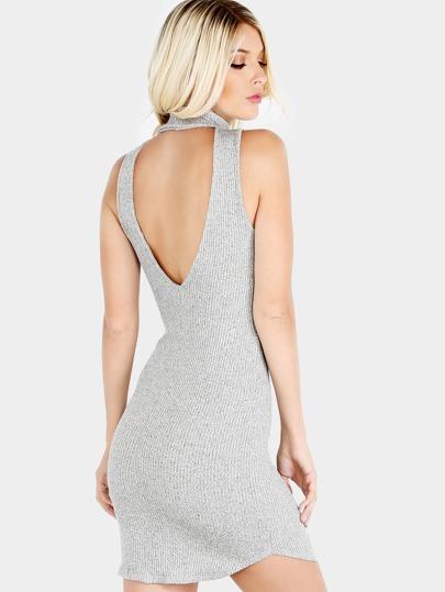 Low Back Turtleneck Ribbed Knit Dress HEATHER GREY