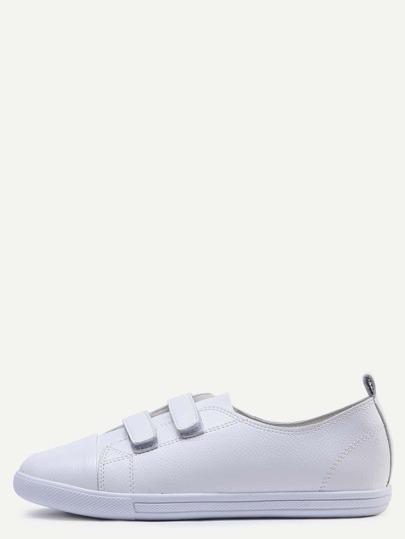 Chaussures en cuir bout rond avec velcro - blanc