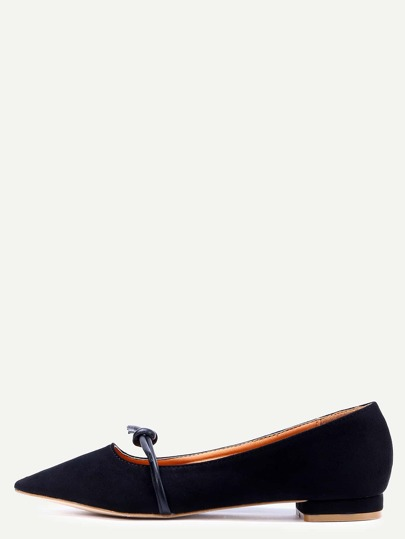 Black Faux Suede Mary Jane Flats