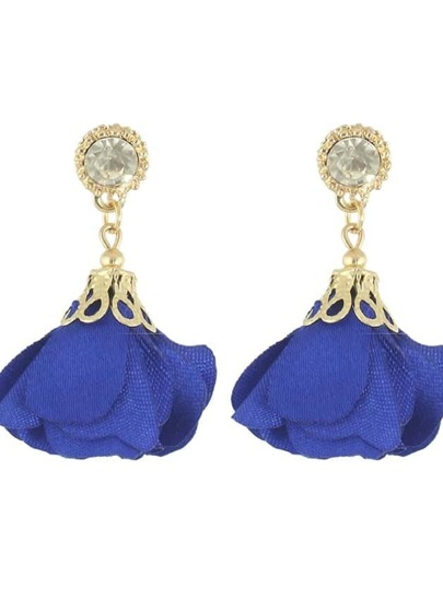 Blue Women Jewelry Flower Drop Earrings