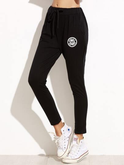 Black Badge Print Drawstring Pants