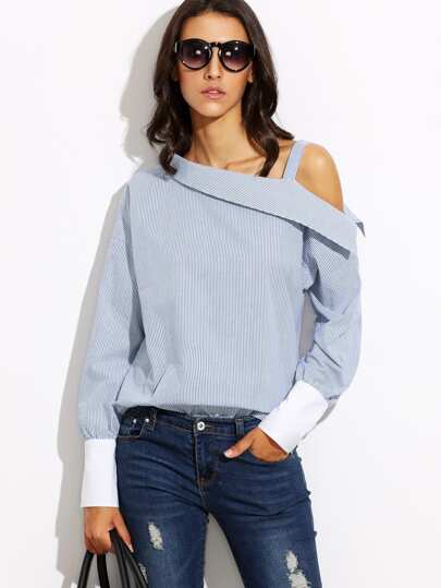 Striped Fold Over Asymmetric Shoulder Contrast Cuff Blouse