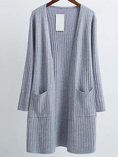 Grey Collarless Ribbed Long Pocket Cardigan