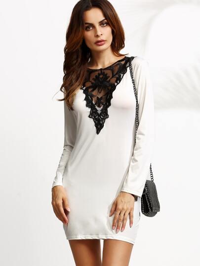 White Crochet Neck Keyhole Bodycon Dress