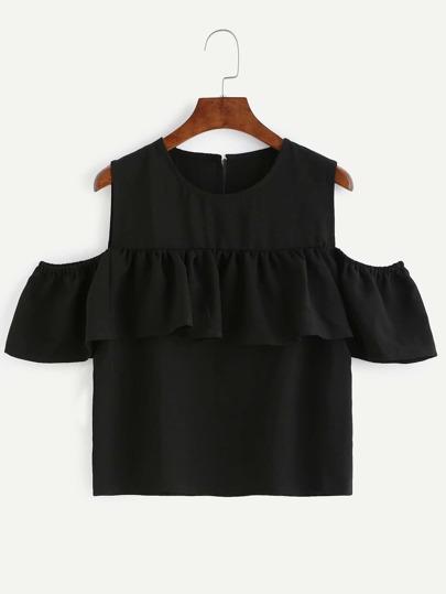 Black Open Shoulder Keyhole Back Ruffle Top