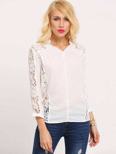White Contrast Lace Sleeve Blouse