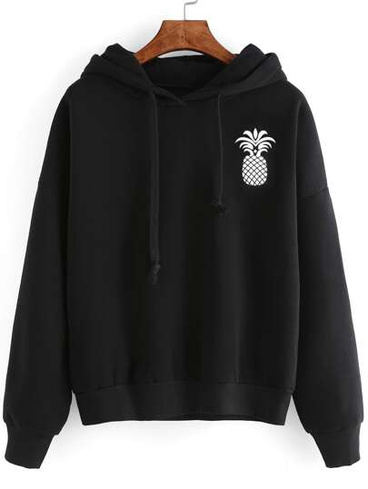 Pineapple Print Drop Shoulder Hooded Drawstring Sweatshirt