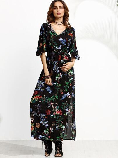 Black Flower Print Tie Neck Flutter Sleeve Maxi Dress