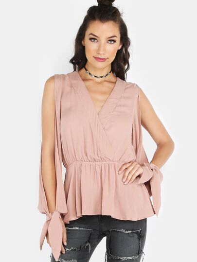 Wrap Over Peplum Blouse PINK SAND