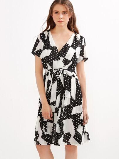 Polka Dot V Neck Self Tie Pleated Wrap Dress
