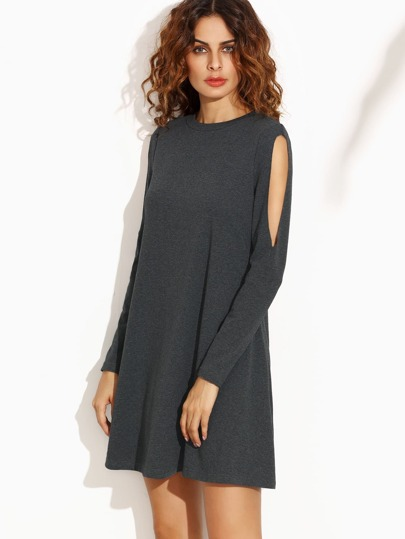 Grey Crew Neck Cut Out Long Sleeve Shift Dress