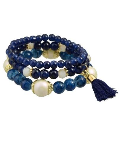 Blue Elastic Beads Bracelet