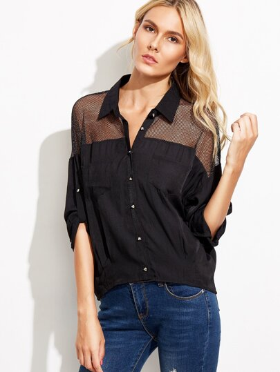 Black Mesh Insert Roll Tab Sleeve Rivet Shirt