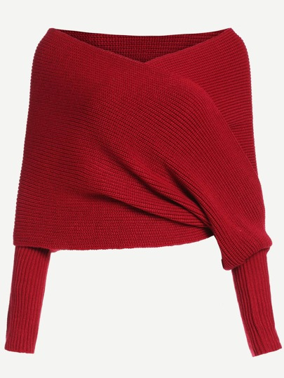 Red Off The Shoulder Cross Wrap Sweater