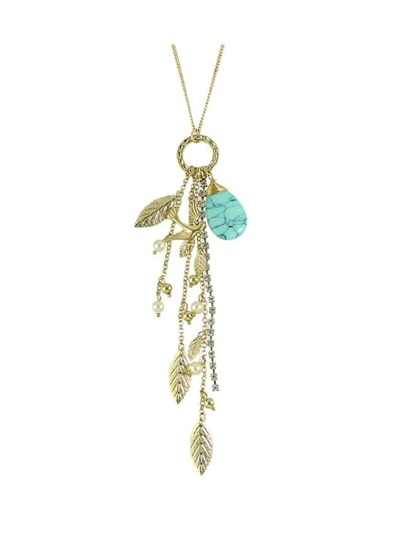 Rhinestone Chain Leaf Shape Long Pendant Necklace