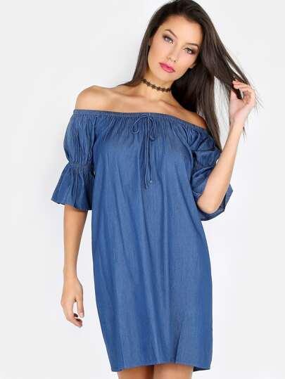 Half Sleeve Open Shoulder Dress DENIM