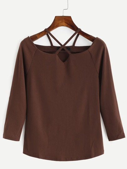 Khaki Criss Cross Raglan Sleeve T-shirt