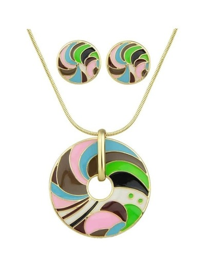 Green Striped Pattern Necklace Earrings Set