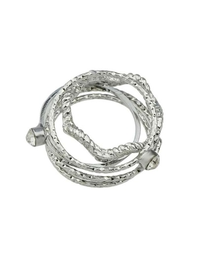 Silver Rhinestone Thin Midi Finger Ring