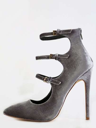 Pointed Toe Strappy Velvet Heels GREY