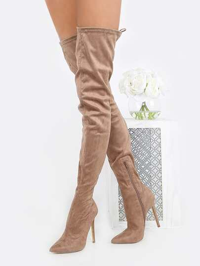 Pointed Toe Faux Suede Thigh Boots TAUPE