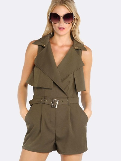 Belted Trench Romper OLIVE